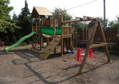 Ansamblu Jungle Gym Cottage-Bridge-Swing cu 2 leagane - Ungaria
