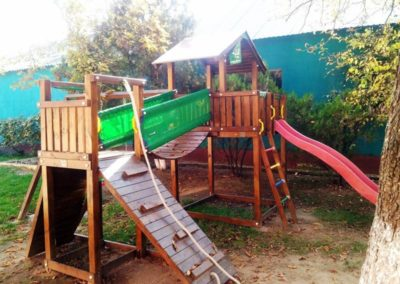 Ansamblu Jungle Gym tobogan, turn, Modul Bridge perete de catarare, Modul Bridge Link pod - Salonta