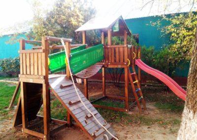 Ansamblu Jungle Gym tobogan, turn, Modul Bridge perete de catarare, Modul Bridge Link pod - Salonta