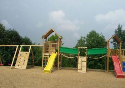 Complex de joaca Jungle copii Gym 2 tobogane, 2 turnuri, Modul Playhouse, Modul Bridge si Modul Climb Extra perete de catarare - Cluj