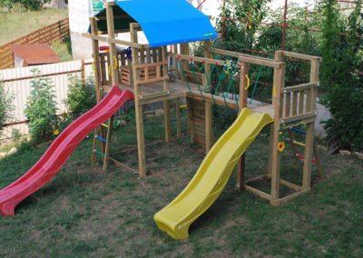 Loc de joaca Jungle Gym Fort 2 tobogane, Modul Modul Net Link si Modul Climb Extra perete de catarare - Suceava