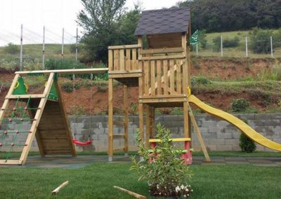 Loc de joaca copii Jungle Gym Palace cu Modul Swing Extra 1 leagan si Modul Climb Extra catarat perete