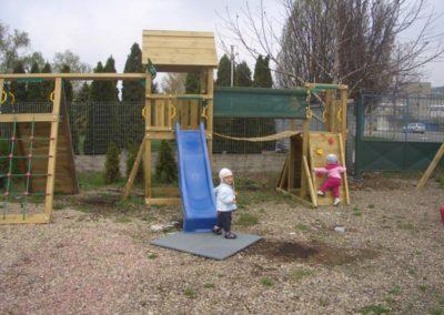 Loc de joaca copii Jungle Gym Cabin cu Modul Brige pod si Modul Climb perete de catarare - MasterGarden