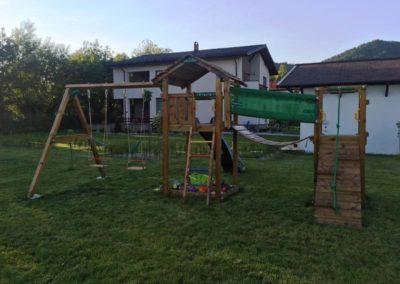 Loc de joaca copii Jungle Gym House cu Modul Swing Extra 2 leagane, Modul Bridge si Bridge Link
