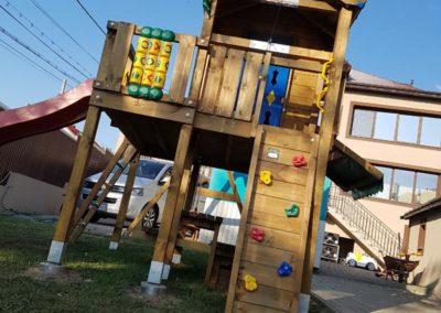 Loc de joaca copii turn Jungle Gym Cubby cu Modul Climb Extra perete de catarare si Modul Tic tac toe joc X si 0